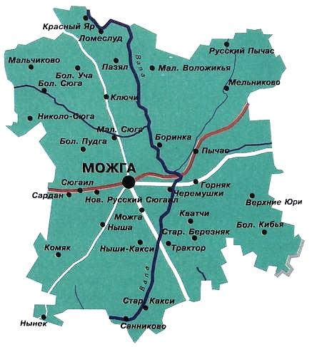 Карта Можгинского района.