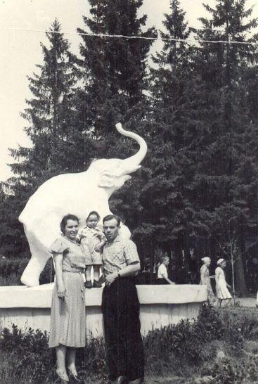 """Скульптура """"Слон"""" в Парке Кирова, фото 1950-х год. Ижевск."""