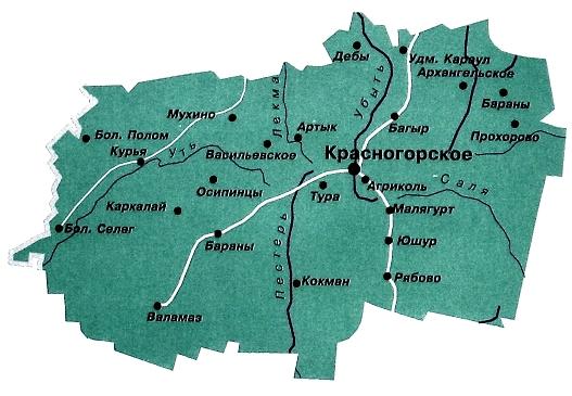 Удмуртия Красногорский район. Карта.