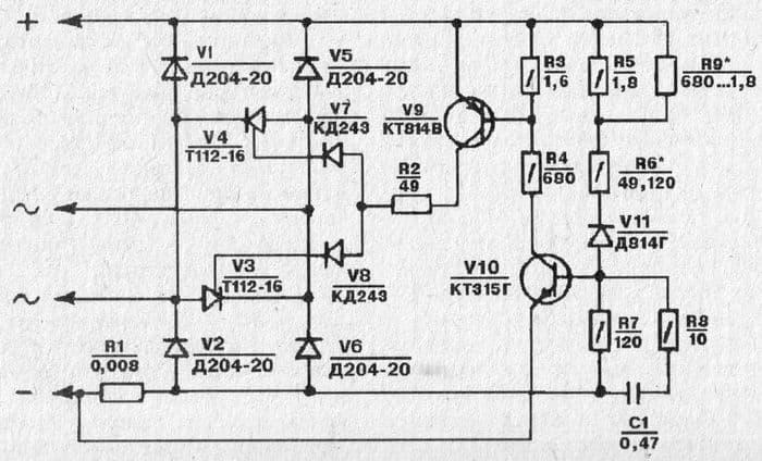 Схема выпрямителя-регулятора напряжения БПВ 21-15 мотоциклов Планета 5-01 и Планета 6.