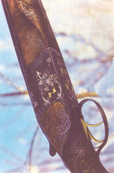 Ружьё Иж-27Е. Высокохудожественная гравировка золотом и серебром выполнена гравером-художником Белобородовым В.
