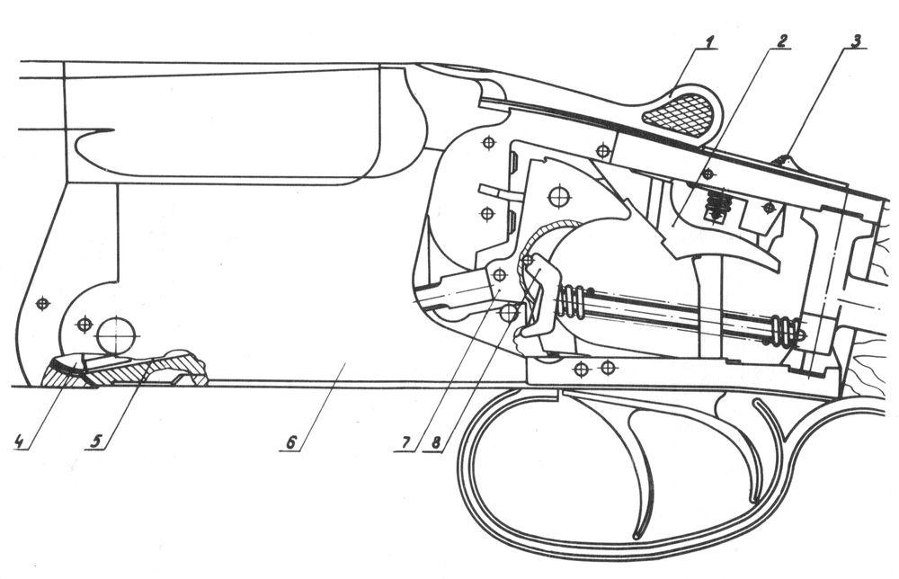 Положение деталей механизмов ружья Иж-27 при закрытых стволах.