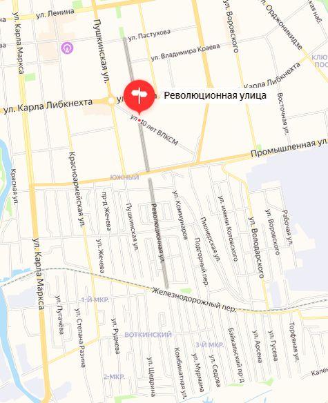 Революционная улица. Ижевск. Октябрьский и Первомайский р-ны. Карта. 2021 год.