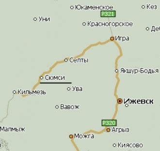 Село Сюмси на карте.