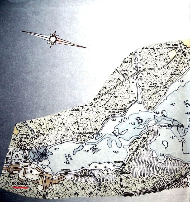 Воложка, Соловьёвская дача, Тихоновская дача, Юровский мыс, Шабердинка на карте.  Ижевск.  Карта времен СССР.
