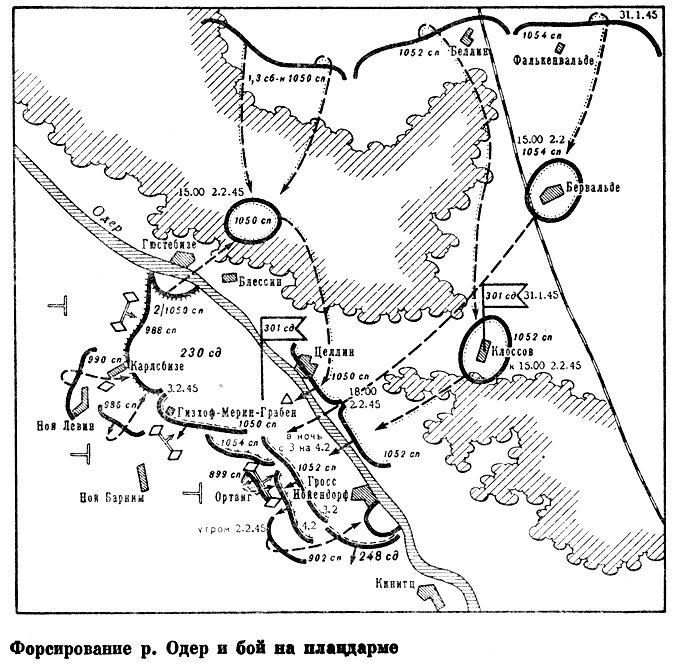 Форсирование р. Одер и бой на плацдарме. Карта.
