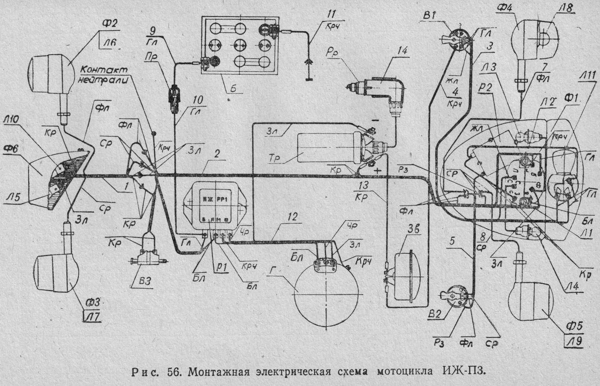 Монтажная электрическая схема мотоцикла ИЖ-П3.