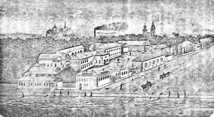 ГРАВЮРА ИЖЕВСКА 1903 ГОДА С ВИДОМ НА ФАБРИКУ ЕВДОКИМОВА.