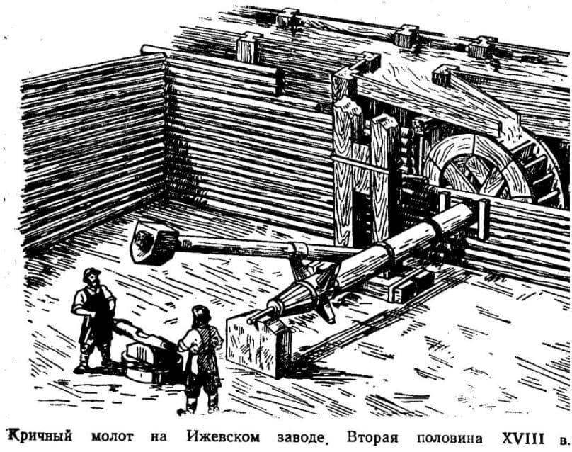 Кричный молот на Ижевском заводе. Вторая половина XVIII в.