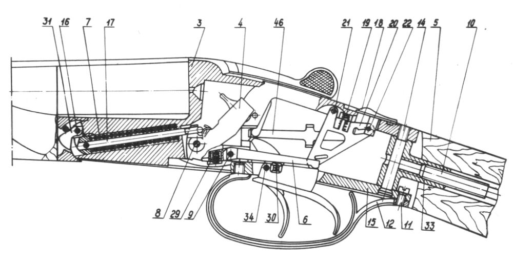 Положение деталей и механизмов в ружье Иж-58МА при взведенных курках.