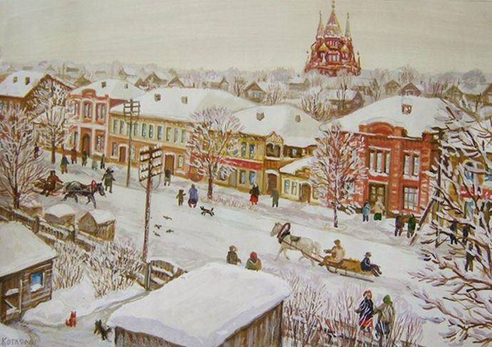 Ижевск. Базарная улица. Зима. Автор: Виктор Борисович Котляров.