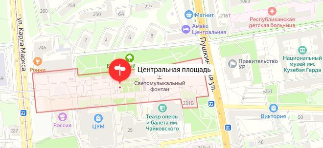 Центральная площадь Ижевска. Карта.