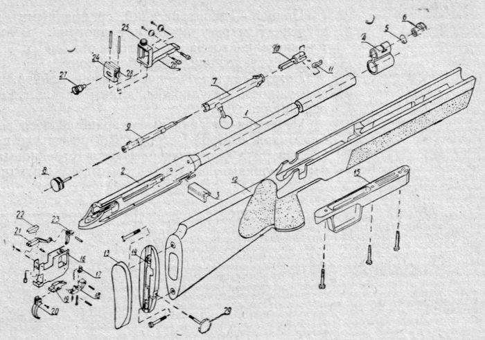 Детали и сборки винтовки Рекорд