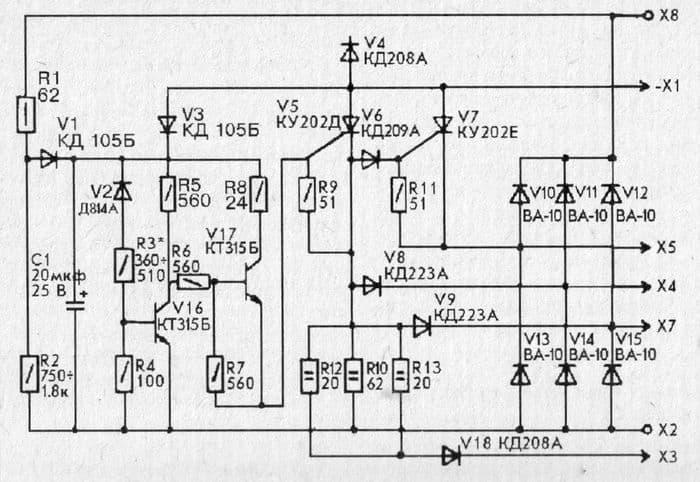 Принципиальная схема блока БПВ 14-10  для мотоциклов ИЖ-Планета -5, -4 и ИЖ-Юпитер  -5, -4.
