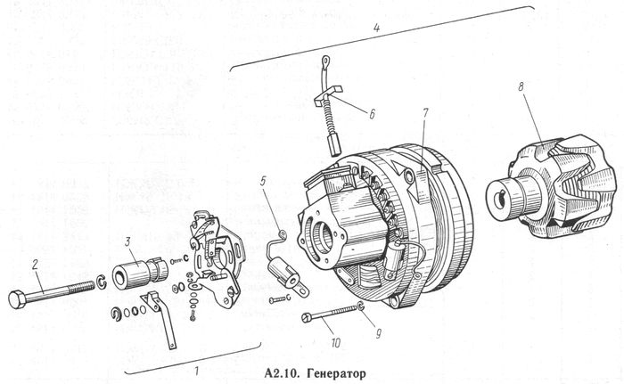 Детали генератора  Г36М8  мотоциклов ИЖ-Юпитер -5-01, -5, -4, -3.