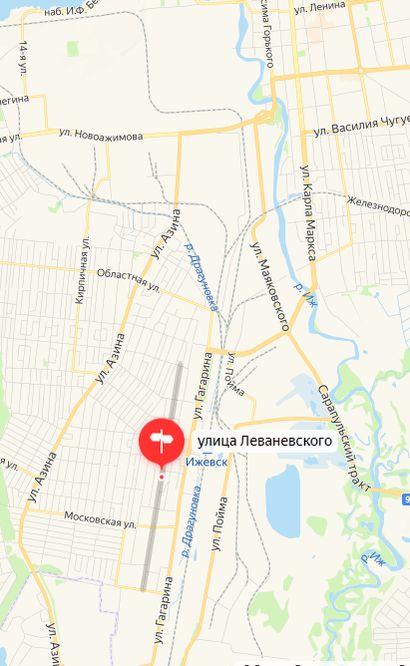 Ижевск улица Леваневского. Карта. 2021 г.