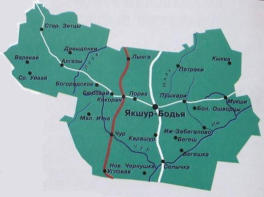 Карта-Якшур Бодьинского района. Удмуртия.