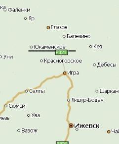 Село Юкаменское на карте Удмуртии.