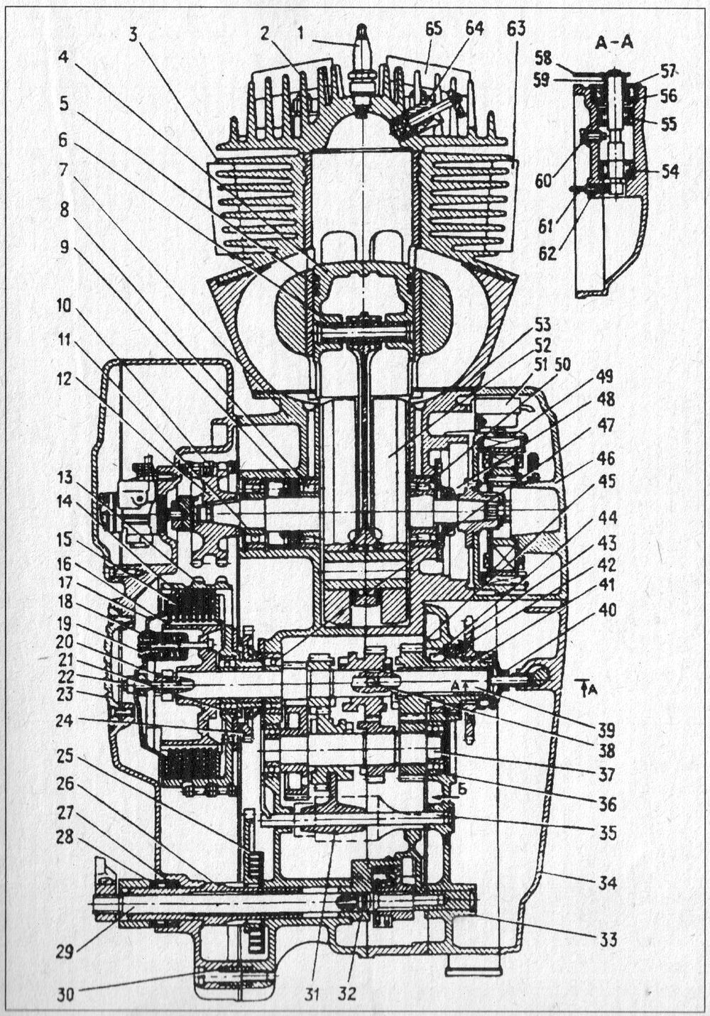 Конструкция двигателя Планета 5-01 с муфтой сцепления и коробкой передач (в разрезе).