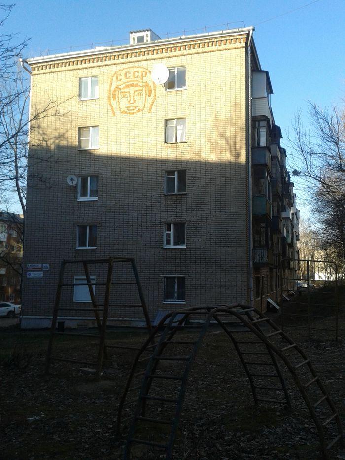 Рисунок из кирпичей на  К.Маркса 262а. Ижевск. ДВА. Фото 2021 год.