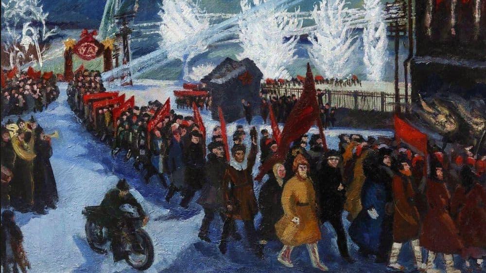 Московская художница (двоюродная сестра В. А. Серова) Нина Яковлевна Симонович-Ефимова (1877—1948) — Праздничная демонстрация в Ижевске (1932).
