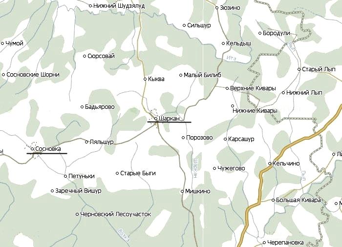 Карта Шарканского района Удмуртия.