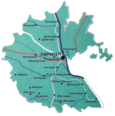 Карта Сарапульского района. Удмуртия.