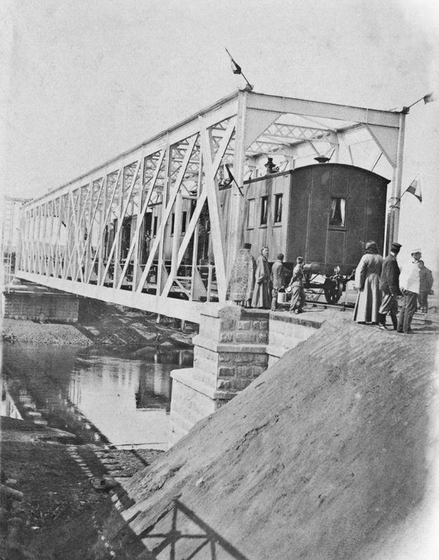 Освящение железнодорожного моста через реку Сива при открытии движения 06 августа 1903. Воткинск.