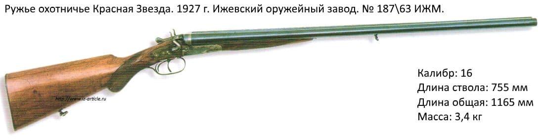 Ружье охотничье Красная Звезда 1927 г. Ижевский оружейный завод. №187/63 ИЖМ.