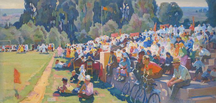 Спортивная тематика на картинах удмуртских художников. Семенов П. С. - Сельский стадион (1963).