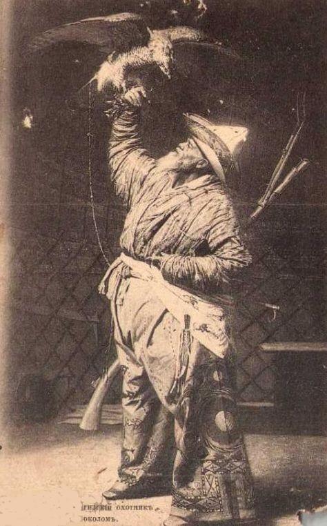 Киргиз. Охотник с соколом. Издательство ружейной фабрики И.Ф. Петрова в Ижевском Заводе.