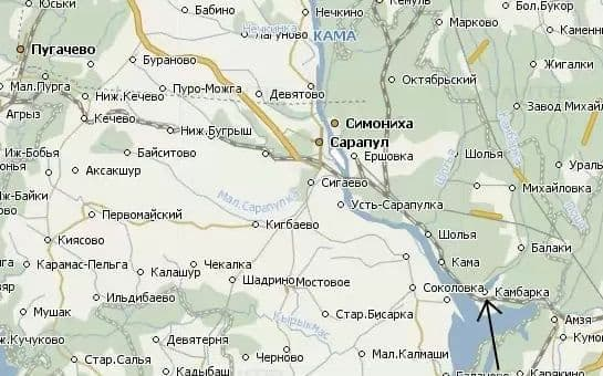 Камбарка на карте.