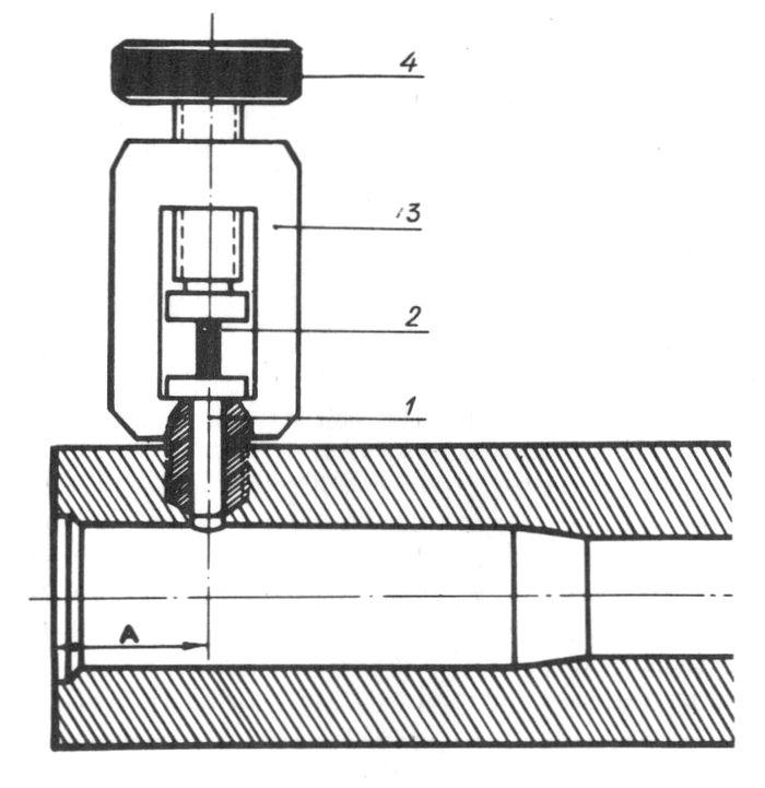 Схема установки крешерного прибора в патроннике баллистического ствола.