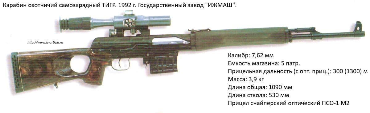 Карабин охотничий самозарядный ТИГР. 1992 г. Государственный завод ИЖМАШ.