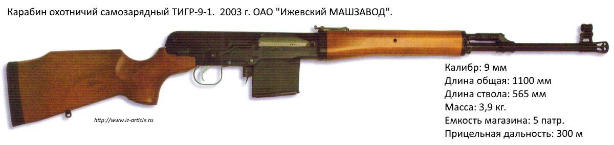 Карабин охотничий самозарядный ТИГР-9-1. 2003 г. ОАО Ижевский МАШЗАВОД.