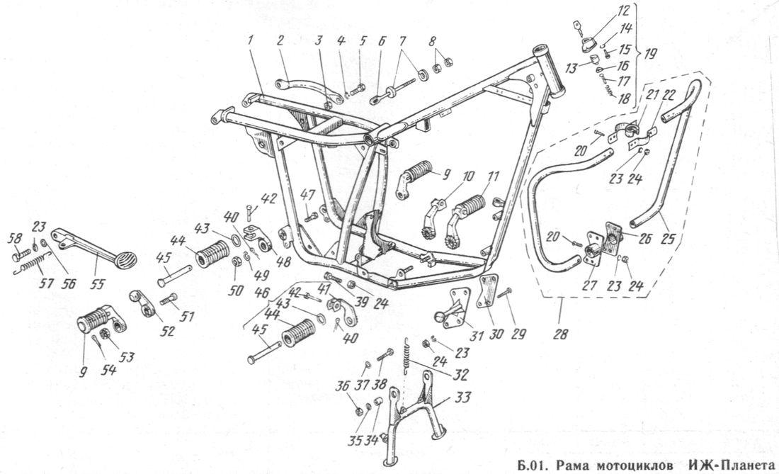 Детали рамы  мотоциклов ИЖ-Планета -5, -4, -3,-02, -3.