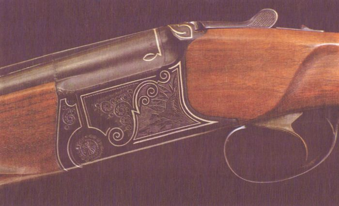 Ружьё Иж-27Е-1С с улучшенной отделкой. Плоскостная гравировка с использованием серебра.