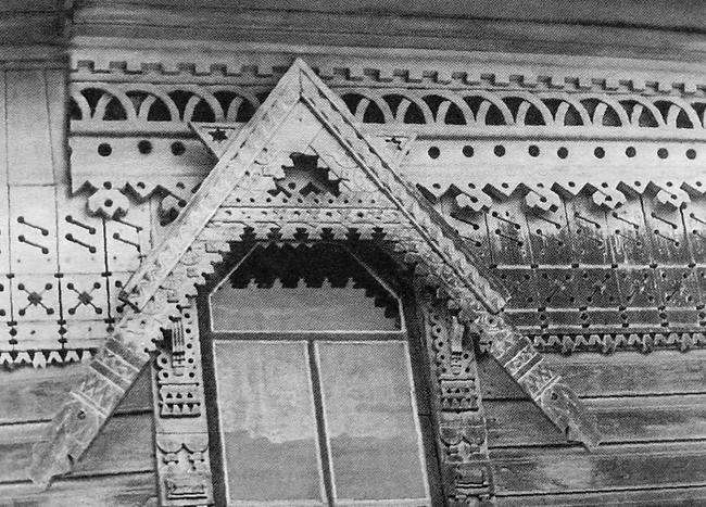 Резьба на удмуртском доме, с. Сетты, 1964 г.