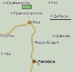 Село Дебёсы Удмуртия карта