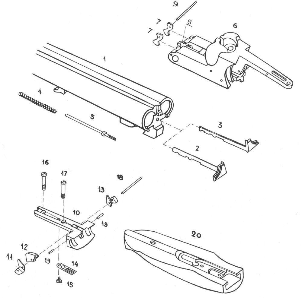 Детали механизма автоматического выбрасывания стрелянных гильз ружья Иж-58МАЕ.