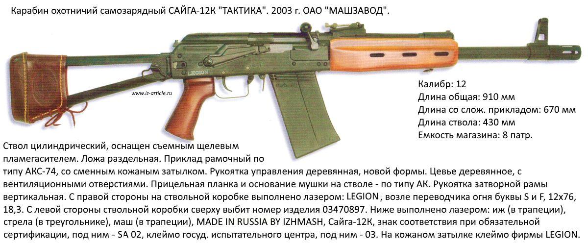 """Карабин охотничий  самозарядный САЙГА-12К """"ТАКТИКА""""."""