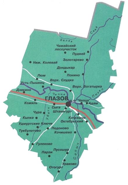 Карта Глазовского района. 2019 г.