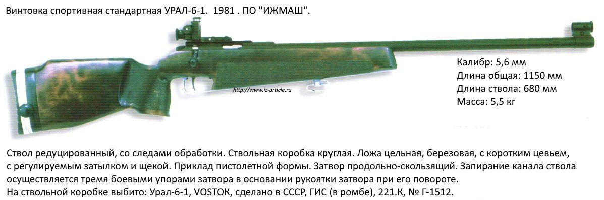 Винтовка спортивная стандартная УРАЛ-6-1. 1981 г. ПО ИЖМАШ.
