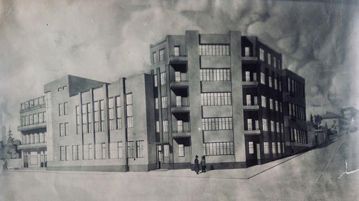 План здания НКВД в городе Ижевске на перекрёстке улиц Советская и Пушкинская. Построено в 1932-1933 гг. Фото: ЦГА УР.