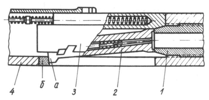 Схема оружия с продольно-скользящим затвором, запирающимся перекосом дробового ружья.