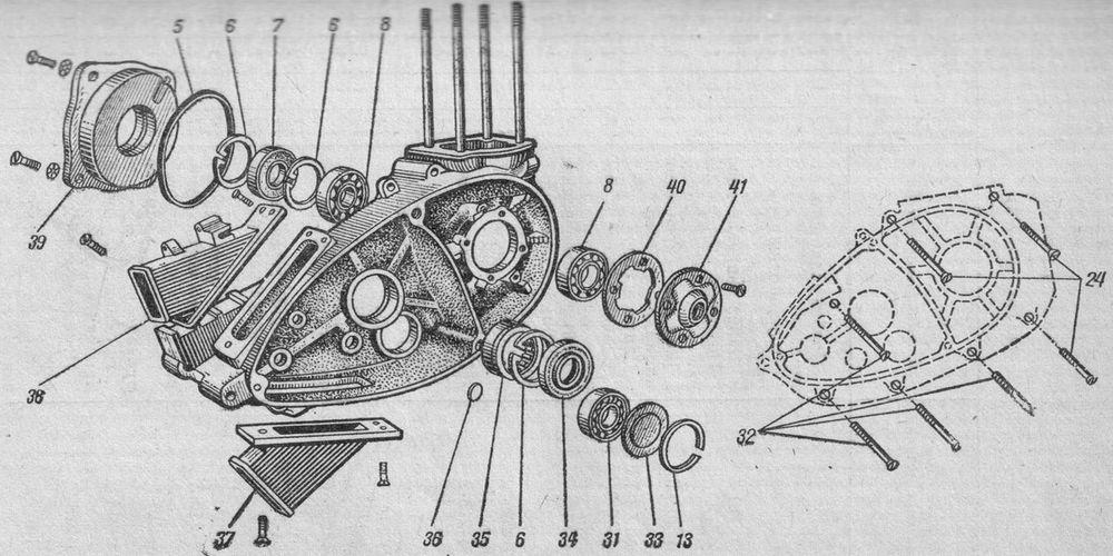 Картер двигателя мотоцикла Иж-Ю3. Правая половина.