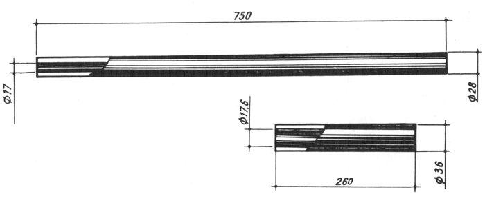 Виды заготовок для изготовления стволов:  а — заготовка, изготовленная глубоким сверлением; б — заготовка для ротационной ковки.