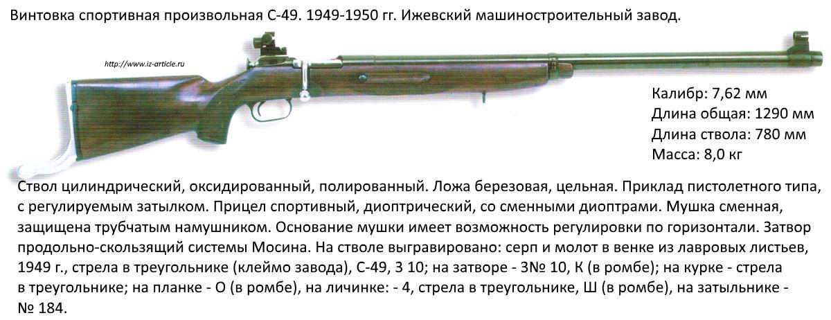 Винтовка спортивная произвольная С-49. 1949-1950 гг. Ижевский машиностроительный завод.
