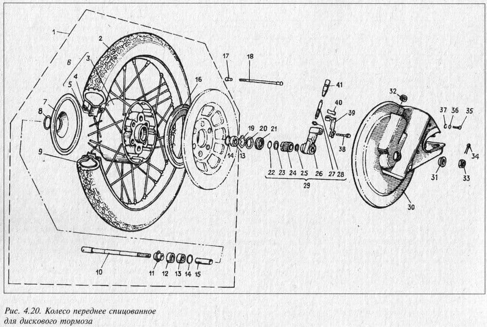 Колесо переднее спицованное для дискового тормоза мотоцикла ИЖ