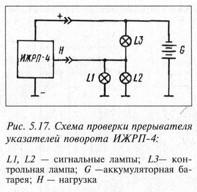 Схема проверки прерывателя указателей поворота ИЖРП-4.